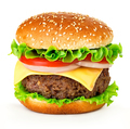 Big cheeseburger isolated on white background. - PhotoDune Item for Sale