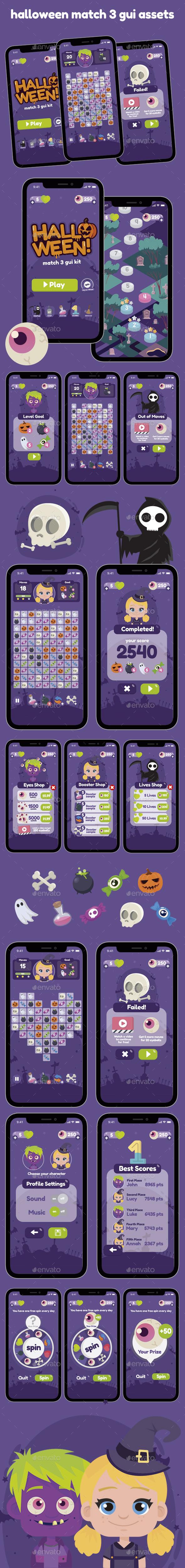 Halloween Match 3 Game Gui Assets