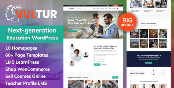 Coach Online Courses & LMS Education WordPress – Vultur Preview