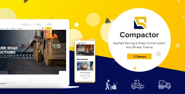 Photo of Compactor – Road Construction WordPress Theme Full Download