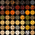 Collection of aromatic spices and condiments collage background circles - PhotoDune Item for Sale