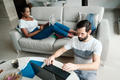 Couple Working From Home With Tablet Computer - PhotoDune Item for Sale