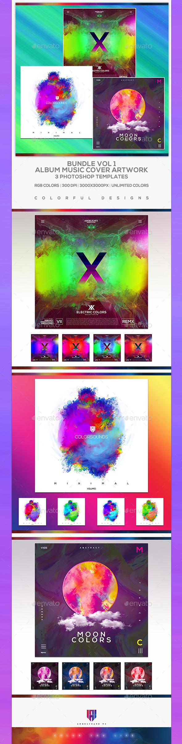 Electro - Music Album Cover Artwork Template Bundle 1