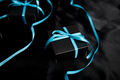 Luxury black gift boxes with blue ribbon - PhotoDune Item for Sale