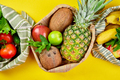 Eco shopping bags with organic fruits and vegetable on yellow background. - PhotoDune Item for Sale