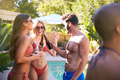 Group Of Smiling Friends Outdoors Making A Toast With Beer And Enjoying Summer Pool Party - PhotoDune Item for Sale