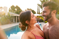 Romantic Couple At Summer Pool Party Taking Selfie On Mobile Phone - PhotoDune Item for Sale