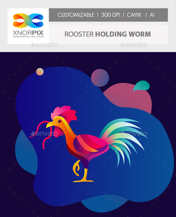 Rooster Holding Worm