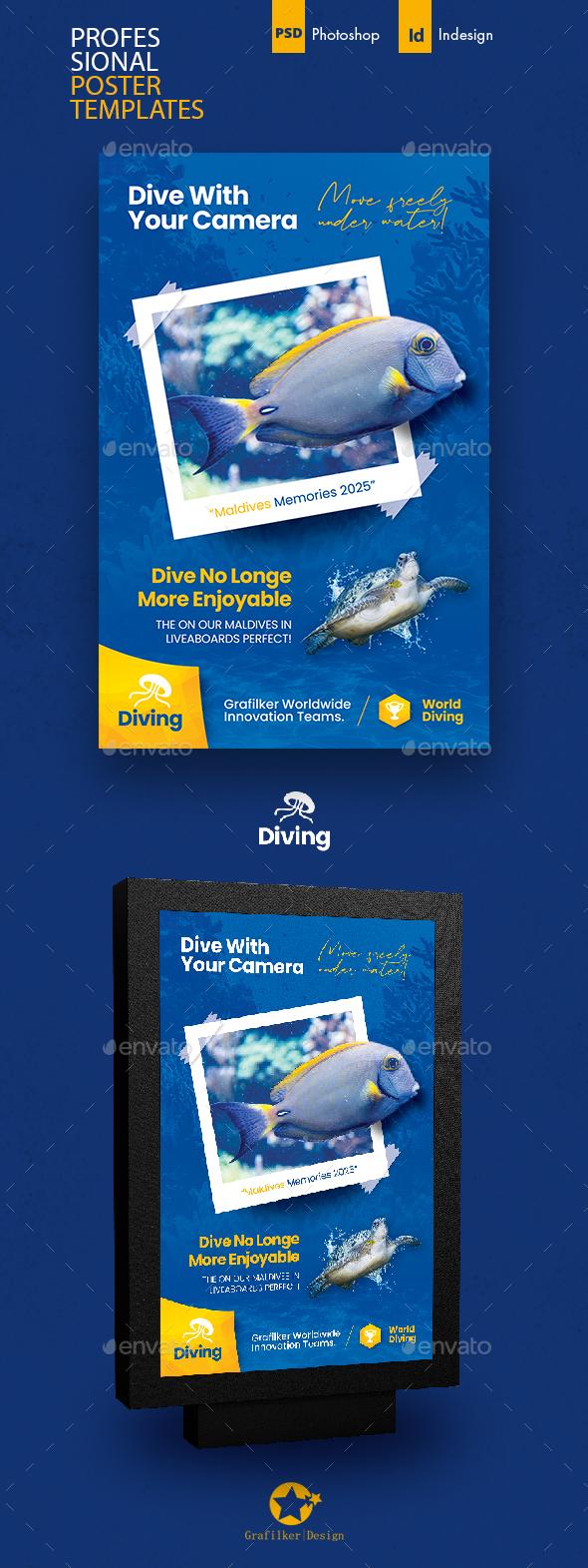 Ocean Diving Poster Templates