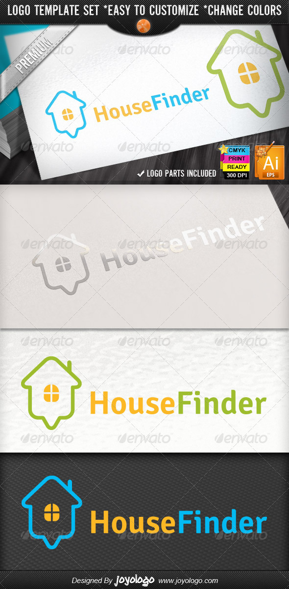 Online Home Search Map Pointer House Finder Logo