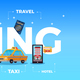 Travel Tourism Booking Big Letters Composition - GraphicRiver Item for Sale
