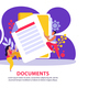 Documents Employment Flat Background - GraphicRiver Item for Sale