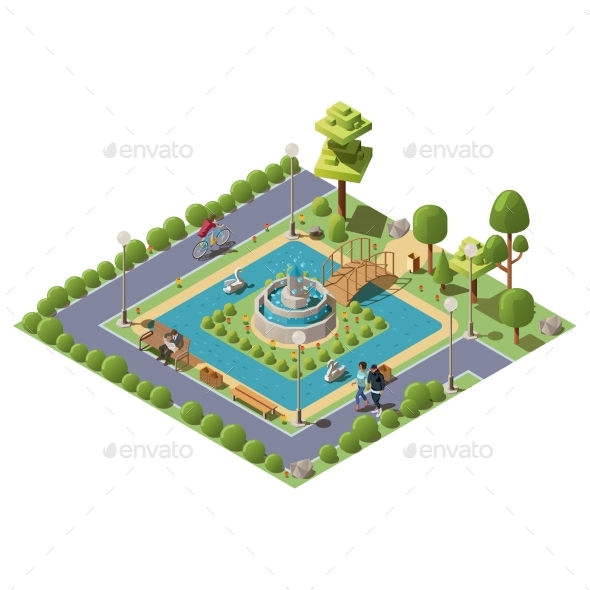 Isometric Green City Park for Recreation