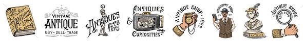 Antique Shop Labels or Badges Set