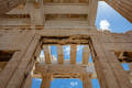 Athens, Greece. Propylaea in the Acropolis, monumental gate roof, blue cloudy sky - PhotoDune Item for Sale