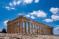 Athens, Greece. Parthenon temple on Acropolis hill, blue sky background - PhotoDune Item for Sale