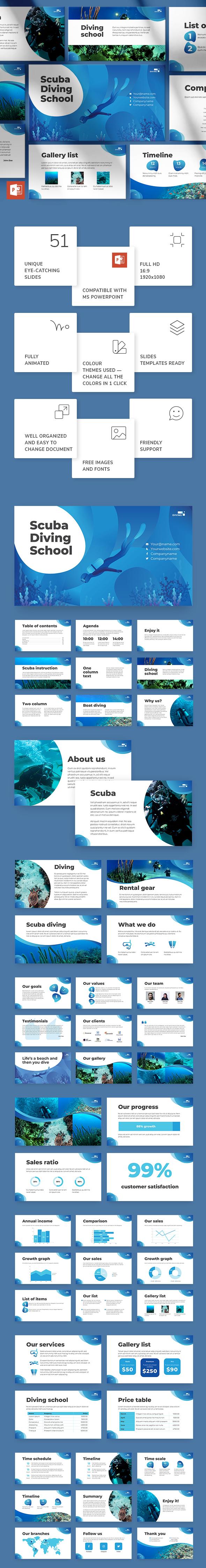 Diving School PowerPoint Presentation Template