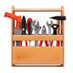 Vector Narrow Wooden Toolbox with Tools - GraphicRiver Item for Sale