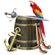 Vector Old Barrel with Pirate Accessories - GraphicRiver Item for Sale