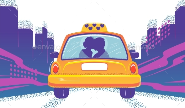 Taxicab with Couple in Cartoon Style Love Taxi