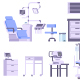 Hospital Medicine Doctor Office Furniture Isolated - GraphicRiver Item for Sale