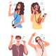 Young People Characters Listen to Music and Dance isolated set - GraphicRiver Item for Sale