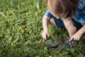 Happy little boy exploring nature with magnifying glass at the day time - PhotoDune Item for Sale