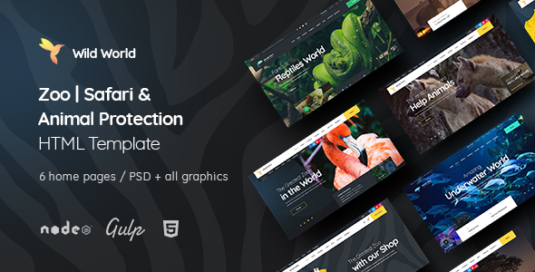 WildWorld - Zoo | Safari & Animal Protection Environment HTML Template