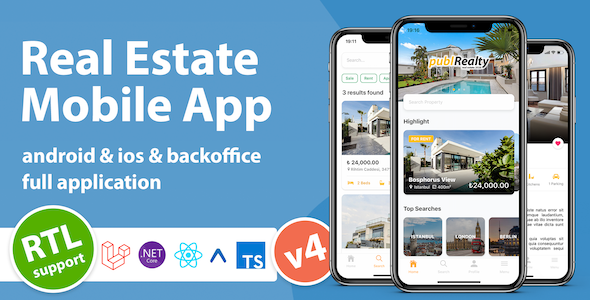 Real Estate Mobile App with Admin Panel | React Native & PHP Laravel or .NET Core 3.1 Download