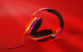 Stereo Headphones on red color background. Glitch effect. - PhotoDune Item for Sale