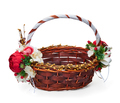Festive basket with a flower arrangement on white background - PhotoDune Item for Sale