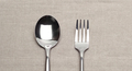 Fork and spoon on canvas napkin - PhotoDune Item for Sale