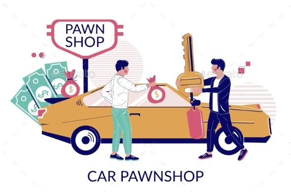 Car Pawnshop Vector Flat Style Design Illustration