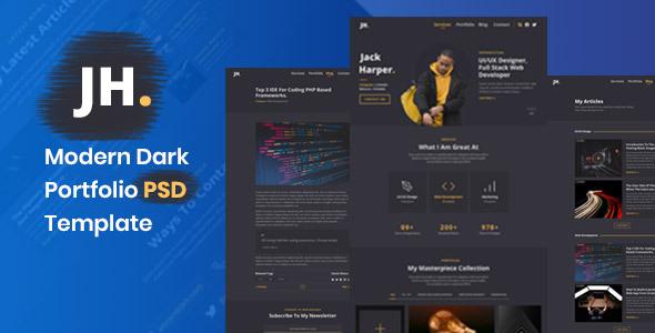 Palun - Dark Personal Portfolio PSD Template