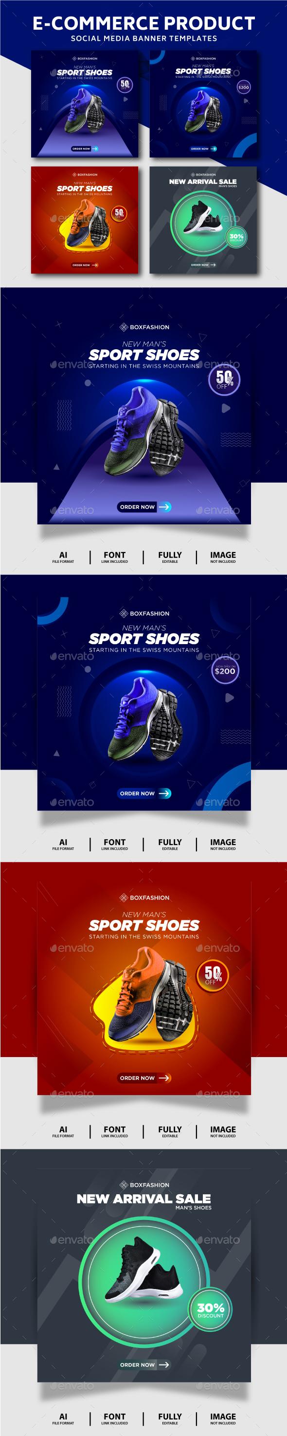 Sport Shoes Brand Social Media Post Templates