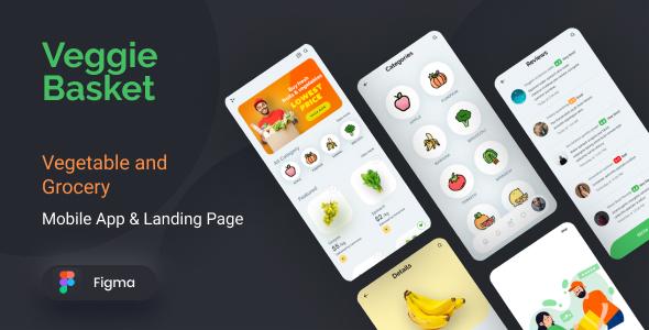 VeggieBasket | Mobile App and Landing Page Figma Template