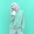 Aesthetic girl in stylish accessories sunglasses and fresh Smoothie. Mint monochrome colours design - PhotoDune Item for Sale