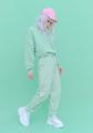 Vanilla Mint urban style. Girl 90s aesthetic. Monochrome color trends. Aqua Menthe - PhotoDune Item for Sale