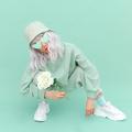 Fresh Mint urban look.  Girl 90s aesthetic . Monochrome color trends. Aqua Menthe - PhotoDune Item for Sale