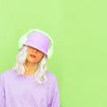 Hipster Dj Girl in stylish headphones and bucket hats. Minimal monochrome colours design trends - PhotoDune Item for Sale
