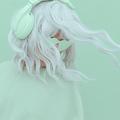 Vanilla Mint Dj Girl. Monochrome Party colours. Stylish headphones, music lover concept - PhotoDune Item for Sale
