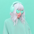Vanilla Dj Blonde Girl. Monochrome Party style. Fresh aesthetic mint colours. Listen to light music - PhotoDune Item for Sale
