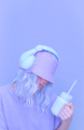 Ice Smoothie Dj Girl in stylish headphones and bucket hats. Minimal monochrome pastel colours trends - PhotoDune Item for Sale
