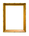 Wooden decorative picture frame with golden insets on white background - PhotoDune Item for Sale