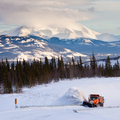 Snowplow clearing road in scenic Yukon T Canada - PhotoDune Item for Sale