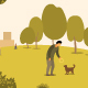 A Man in a Park Walks with a Dog - GraphicRiver Item for Sale