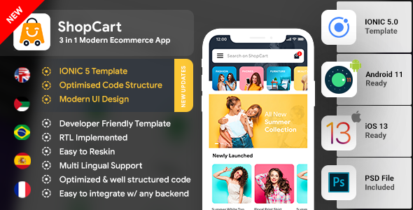 eCommerce Android App Template + eCommerce iOS App Template|3 Apps| IONIC 5 | ShopCart Download