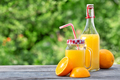 Fresh orange juice and sliced oranges on a wooden table - PhotoDune Item for Sale
