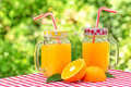 Two jars of orange juice on red checkered tablecloth - PhotoDune Item for Sale