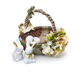 Easter basket from a flower arrangement and a rabbits on white background - PhotoDune Item for Sale